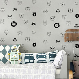 cute lion cartoon NZ - Creative Vinyl Decal Cartoon Cute Animal Lion Tiger Head Wall Sticker Wallpaper Personalized Removable DIY Kid Room Background Home Decor