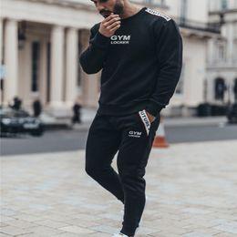 Body Fitness Suit Australia - Sports Clothing Men Set Running Gym Sweatshirt Male Sportswear Tracksuit Fitness Body buildin Mens Hoodies+Pants Sport Suit Men