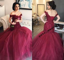 $enCountryForm.capitalKeyWord Australia - Elegant Off Shoulder Dark Red Mermaid Evening Dresses Appliques Lace Satin Tulle Corset Burgundy Prom Dresses Formal Gowns