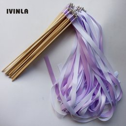 $enCountryForm.capitalKeyWord NZ - 50pcs lot purple wedding ribbon wands with sliver bell ribbon Twirling Streamers wedding ribbon stick for wedding