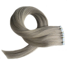 "18 Human Hair NZ - Gray hair extensions 100% Human Hair Remy Tape In Hair Extensions 12"" 14"" 16"" 18"" 20"" 22"" 24"" 26"" 100g 40pcs Set tape extensions grey"