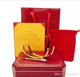Moda TOP qualidade amor pulseira 316L titanium aço parafuso pulseira com chave de fenda para casal amante com caixa original set venda por atacado