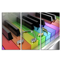Canvas Prints Australia - 3 pieces high-definition no frame print Colorful 3D Piano canvas oil painting poster and wall art living room picture GQ-002