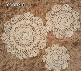 Kitchen Place Mats Australia - Vintage cotton round placemat cup coaster mug kitchen Christmas dining table place mat cloth lace Crochet coffee doily pad