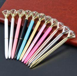 $enCountryForm.capitalKeyWord Australia - 14styles Ballpoint Pens Big Gem Ball Pen Crystal Glass pen Fashion School Student Luxury Office Art Supplies business gift FFA1087 120PCS
