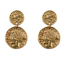 $enCountryForm.capitalKeyWord Australia - UJBOX Wholesale European American Figure Earrings Retro Portrait Coin Earrings Ins Net Red Trendy Gold Ancient Coins