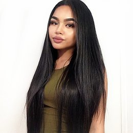 synthetic lace wig fiber 2019 - Free Shipping 26inch Natural Look Black Silky Straight Wigs Synthetic Lace Front Wig 180% Heat Resistant Long Fiber Wigs