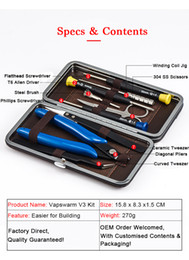 diy tool sets Australia - Original Vapswarm V3 Tool Kit Set for Vape DIY RDA RBA Building Coil Jig Allen Screwdriver Scissors Pliers Tweezer Brush Portable Bag DHL