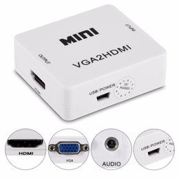 VGA to HDMI Converter 1080P VGA2HM Adapter Audio Power Cable For PC Laptop DVD to HDTV Projector on Sale
