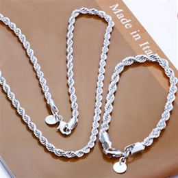 "925 Sterling Silver Chains 24inch NZ - Fashion 925 Sterling Silver Set Solid Rope Chain 4MM Men Women Bracelet Necklace 16""-24inch jewelry Link Italy Hot sale New S051"