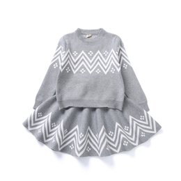 Winter skirt suits online shopping - Baby girls Wave pattern outfits children knitting Sweater skirts set Spring Autumn Boutique suits kids Clothing Sets C4399