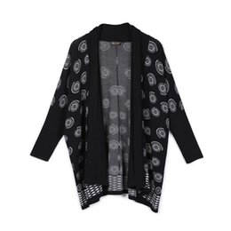 Discount chiffon fan - Women Vintage Japanese Black Chiffon Trench Crane Fan Print Short Long Cardigan Outwear