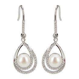 69622ac97090 Brillante 1 par de plata esterlina 925 perlas de pan gota de agua Pendientes  colgantes para dama (blanco