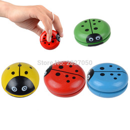 cartoon for 14 years old Canada - Four colors Cartoon ladybird Yo Yo ball toy kawaii wooden yoyo Ladybug YOYO Creative toys for children kids