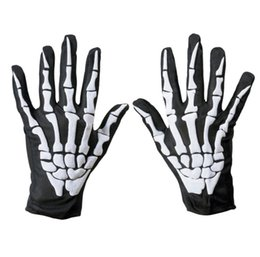 Chinese  2018 Halloween Cosplay Ghost Gloves Fashion Style Winter Full Finger Unisex Ghost Bone Touch Screen Skeleton Gloves manufacturers
