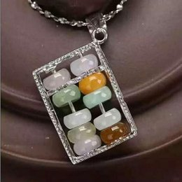Bamboo Necklace Beads Australia - Fine Jewelry natural feicui jade 925 silver Abacus beads necklace pendant for fashion charm women jewelry