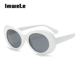 kurt cobain sunglasses 2019 - Imwete Women Clout Goggles Sunglasses Men NIRVANA Kurt Cobain Glasses Male Small Mirror Glasses Retro White Eyewear UV40