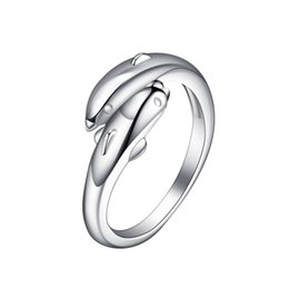 delicate rings NZ - 1pc Stylish Cute Unique Open Rings Double Dolphin Delicate Adjustable Ring Fashion Jewelry for Girls Ladies Women