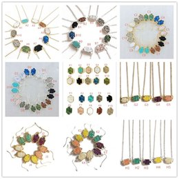 Wholesale Fashion druzy drusy necklace earrings kendra silver gold plated faux natural stone scott necklaces earrings for women brand jewelry