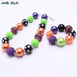 Discount kids chunky necklace bracelet set - Fashion Color Halloween Girl Kid Chunky Necklace&Bracelet Set Newest Design Bubblegum Beads Chunky Necklace Jewelry Set