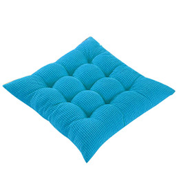 sofa cushion pads UK - wholesale New Arrival Cushion Office Plush Cushion Seat Chair Pillows Solid Color Blue Cushions Bandage Design Sofa Pads Home