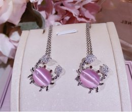 Eye Shaped Pendants NZ - Hot Selling 925 Sterling Silver Natural Pink Cat's Eye Opal Stone Crab Shape Pendants Necklaces For Women Fine Jewelry Gift