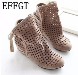 0c983f6b519f hidden wedge ankle shoes 2019 - EFFGT 2017 New Women s Summer Boots Flat  Low Hidden Wedges