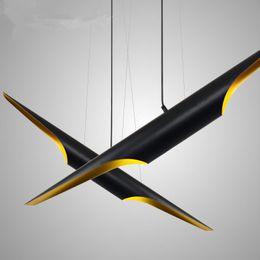 Venta al por mayor de Moderno E27 LED Aluminio negro oro Lámparas colgantes Luz de iluminación L100cm / 80cm proyecto de hotel café loft Aluminio hierro negro lámpara de suspensión