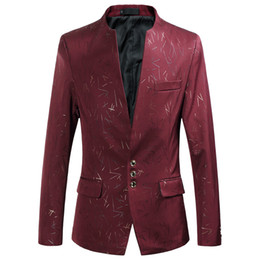 $enCountryForm.capitalKeyWord Australia - Men's Blazer Pattern Solid Color Suit Stand Collar Big Size M-6XL Male Three Buttons Fashion Casual Jacket Wine Red Slim Fit