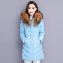 womens army green hooded parka 2019 - 2018 New Fashion Women Winter Jacket With Fur Collar Warm Hooded Female Womens Down Cotton Coat Long Parka Outwear Campe