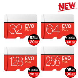 Discount memory card packing - 2019 Black Red EVO Plus C10 64GB 128GB 256GB Memory Card TF Memory Card, Free Retail Blister Pack, Free Shipping