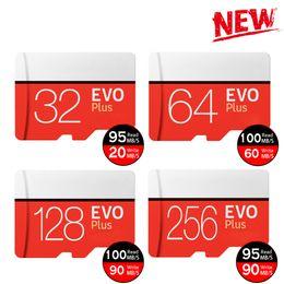 Venta al por mayor de Negro EVO Plus + C10 64 gb 128 gb 256 gb Tarjeta de memoria Tarjeta de memoria TF con paquete de blister minorista gratuito para PC con cámara