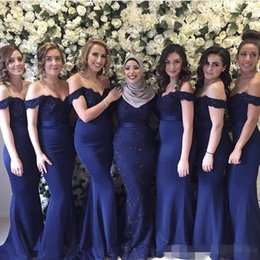 Discount best gold mermaid prom dresses - Best Cheap Lace Bridesmaid Dresses Off The Shoulder With Sequin Beads Mermaid Party Prom Gowns For Junior Maid Of Honor