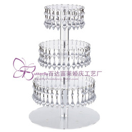 shipping airlines UK - 4 Tier Round Acrylic Glass Cupcake Tower Stand with Hanging Acrylic Crystal Bead-wedding Party Cake Tower  Cupcake Holder