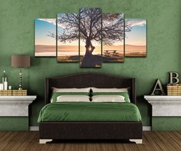 Canvas Prints Frame Australia - Canvas Paintings Wall Art Frame 5 Pieces Blue Sky Tree Silhouette Pictures Modular HD Prints Natural Landscape Poster Home Decor