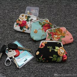 Canvas Coin Gift Bags Wholesale Australia - Free shipping vintage flower coin purse canvas key holder wallet hasp small gifts bag clutch handbag lqb-035