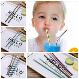 Wholesale Stainless Steel Drink Straw mm Reusable Rainbow Gold Metal Straight Bend Straws Drink Tea Bar Drinking Straws OOA5116