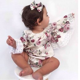 baby girls tutu princess rompers 2019 - Everweekend Baby Rompers Flowers Lace Kids Girls Clothing Princess JumpsuitsInfant Autumn Flare Sleeve Rompers Baby Clot