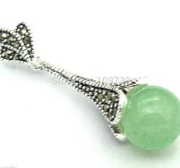 light green pearls UK - Free Shipping Jewelr 004010 Charming Light Green stone Inlay Marcasite 925 Silver Necklace Pendant