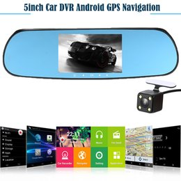 online shopping 5 quot P Android Smart System Car Rearview Mirror Built in GPS Navigation WIFI Dual Lens Car DVR Camera Recorder with Free Map