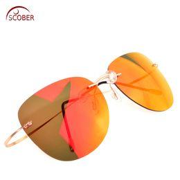 $enCountryForm.capitalKeyWord Canada - = SCOBER = New Designer Rimless Polarized Sunglasses Ultra Light Bombs Radiation protection Anti-UV Mirror lenses