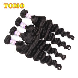 bouncy wave hair NZ - TOMO Loose Wave Bundles Malaysian Loose Wave Hair Weave Grade 7A Human Hair Extensions Soft and Bouncy Hair 4 Bundles Sale Natural Color