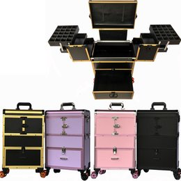Discount makeup trolleys - Multi-layer trolley makeup box professional large-capacity removable caster makeup nail Case