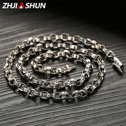 silver chain for men 6mm 2019 - ZHJIASHUN 5 6MM 925 Sterling Silver Chains Necklaces for Men Male Vintage Six-word Mantra Thai Silver Mens Chain Best Gi