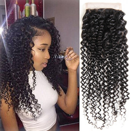 kinky curly hair weave styles Australia - Malaysian Curly Closure Hair Styles Remy Human Hair Deep Curly Weave Closure Natural Color Kinky Curly Hair 8a Closure Free three 3 part