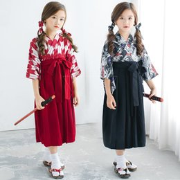 Japanese Dresses Canada - Teenager Girls Floral Dress Cosplay Costumes Sakura Kimono 4PCs Bathrobe Samurai Yukata Japanese Dresses for Princess Girls