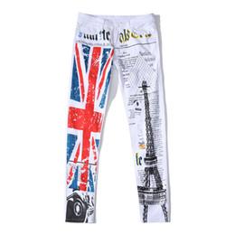 8d1faaf803c98 Fashion hot mens designer jeans men robin jeans Eiffel Tower denim with  England flag plus size