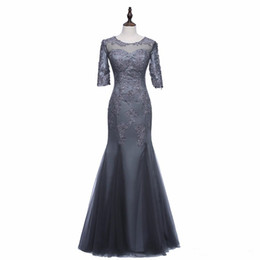 winter wedding dresses mother bride UK - Real Image Mermaid Gray Mother of the Bride Dress Half Sleeve Beaded Lace Appliques Formal Evening Gowns Wedding Guest Dress