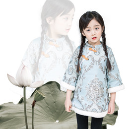 chinese clothes cheongsam Australia - Girls Dresses 2018 New Year Clothes Cheongsam Chinese Style Thick Warm Baby Girls Long Sleeve Princess Dresses Winter Children Clothing