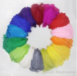 Turquoise Purple Decorations UK - 200pcs lot 12-14inch Ostrich Feather Plume White,Royal bule,Black red Turquoise ivory Pink Yellow Purple Gold Orange Lime green z134